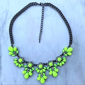 Jewelry - Neon green floral statement necklace